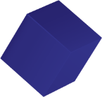A floating blue cube