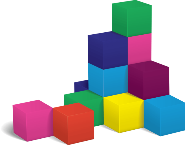 stacked cubes forming a small tower