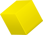 A floating yellow cube