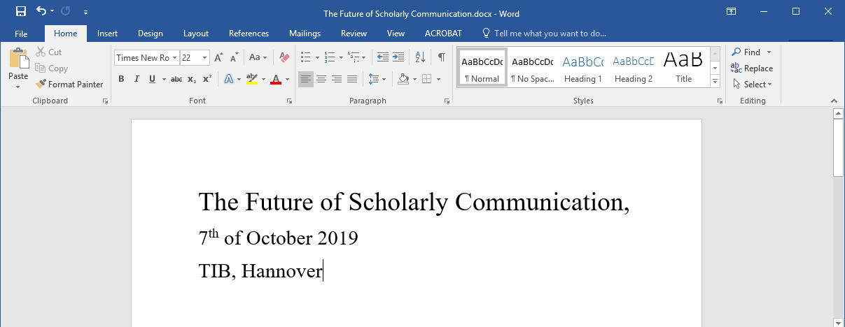 Future of Scholarly Communication Oct 7th 2019