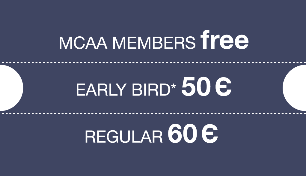 Prices early bird 50 euro, Regular 60 euro, Members free